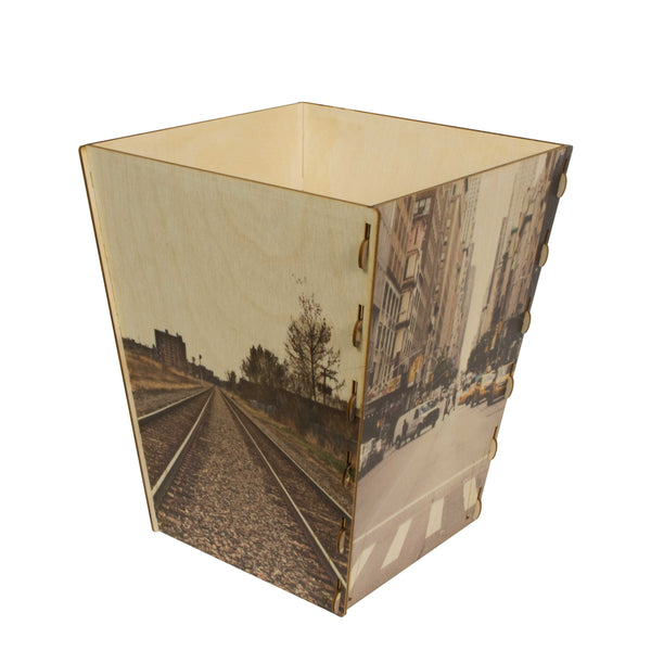 Wooden Waste Basket Custom Printed