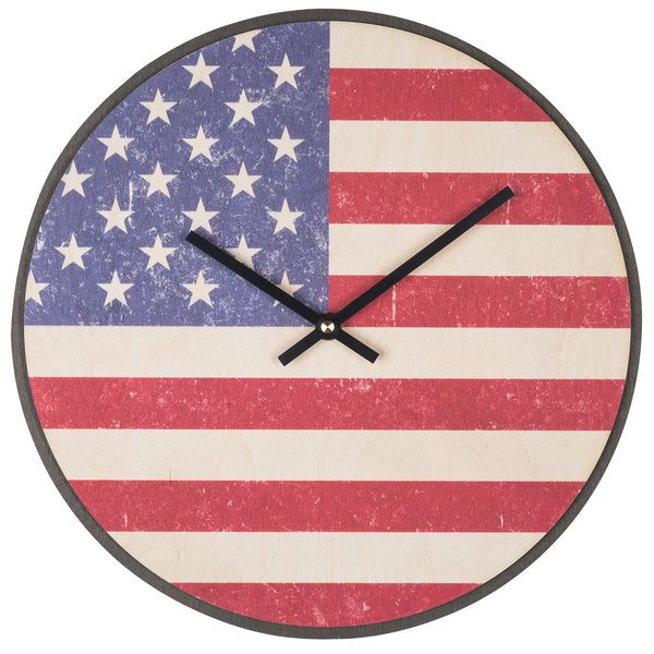 Wood Wall Clock Flag Prints USA