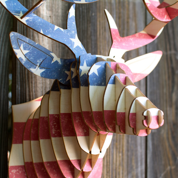 Buck Birch Wood U.S. Flag Deer Head