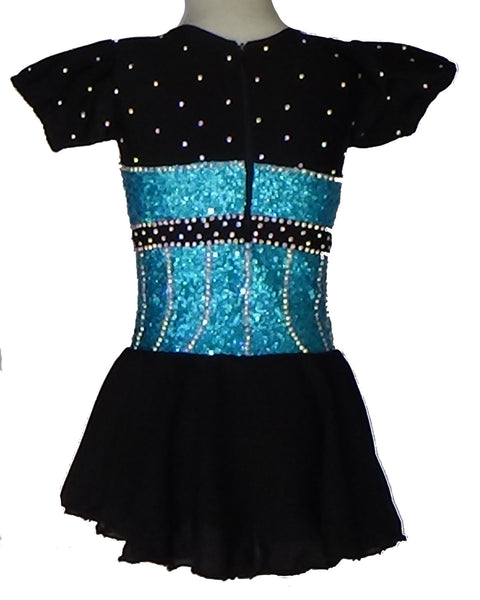"Skating Dress - ""Can Can"" Black/Blue- Child Medium- Barely Used"