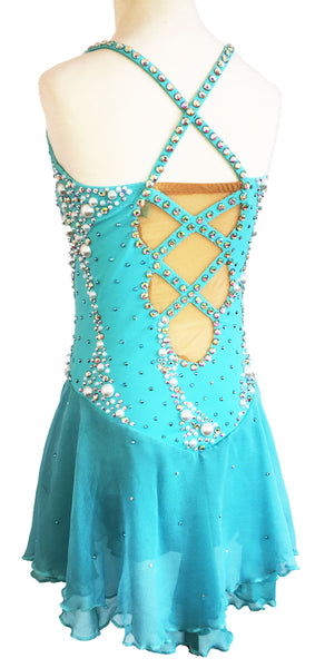 Competition Figure Skating Dress. Custom Design. Blue. Women's XS