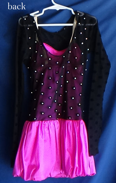 Skating Dress - Hot Pink with Black Mesh Overlay - Child Size Medium