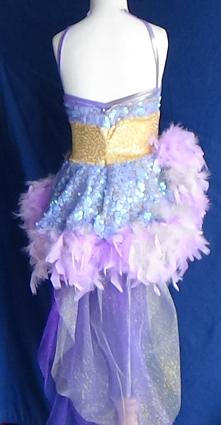 Skating/Dance Dress- Purple and Gold Sequins/Fur Trim Skirt