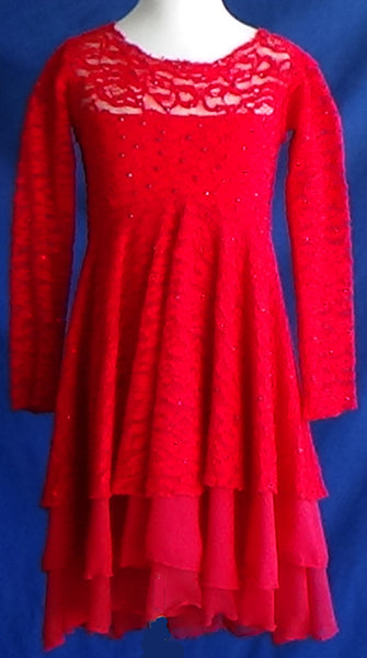 Custom Made Red Lace Skating Dress