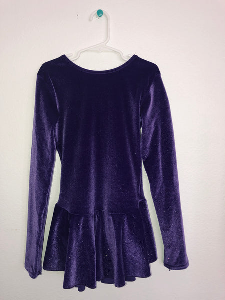 Mondor Dark Puple Velvet Skating Dress -- Child Size 8-10