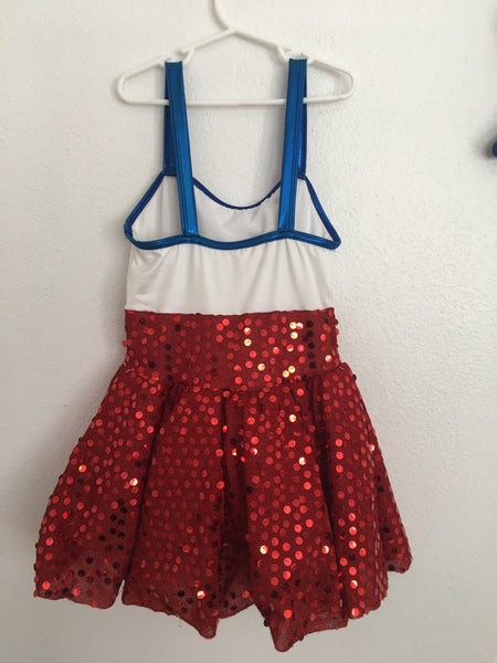 Child Figure Skating Dress/Costume -- Red, White, and Blue