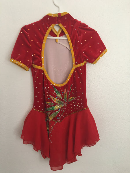 Asian Inspired Custom Made Red Skating Dress