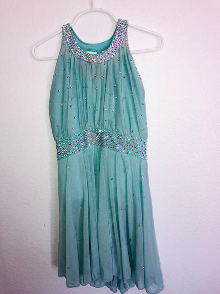 Custom Teal Blue Artistic Dress -- Child Size 8