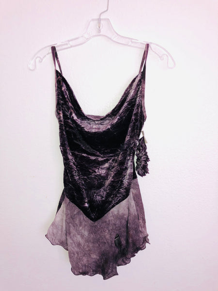 Dark Purple Crushed Velvet Skating Dress -- New -- Size Adult Small