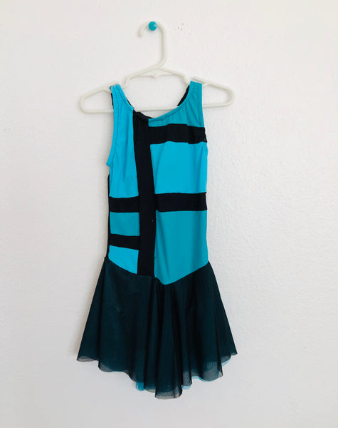 Turquoise and Black Skating Dress -- Child Size 6-7