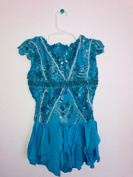 Teal Blue Beaded Skating Dress -- Child Size 8