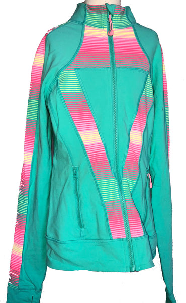Ivivva Perfect Your Practice Jacket Teal Blue Child Size 14