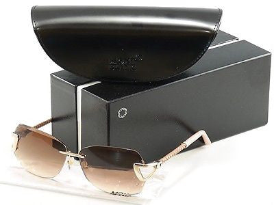 Image of Mont Blanc Sunglasses MB470S 32F Gold Beige Pink Gradient Woman Italy 100% UV