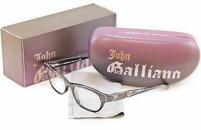 John Galliano Eyeglasses Frame JG5003 005 Plastic Black Over Newspaper Italy