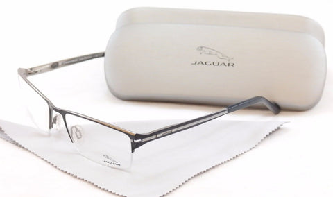 Jaguar Eyeglasses Frame 39504-647 Black Silver Metal Germany Made 54-18-140 - Frame Bay