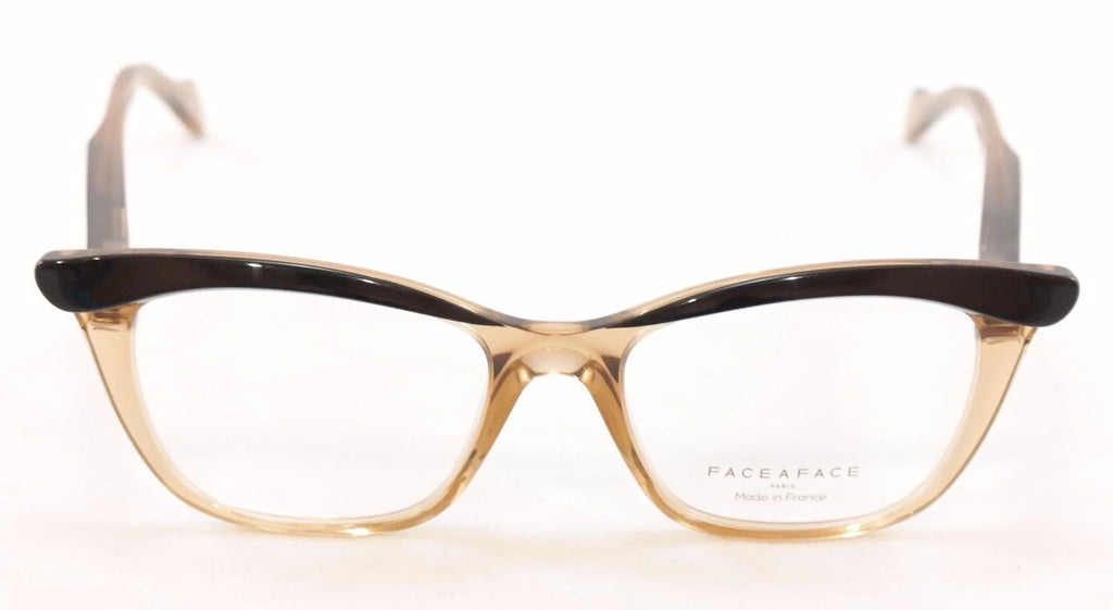 Face A Face Eyeglasses Ebony 3 2002 Black Crystal Amber Plastic France Hand Made