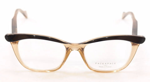 Image of Face A Face Eyeglasses Ebony 3 2002 Black Crystal Amber Plastic France Hand Made
