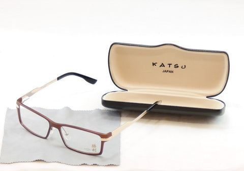 Katsu Eyeglasses Frame K7105 2 Bronze Gold Metal Japan Hand Made 57-16-145