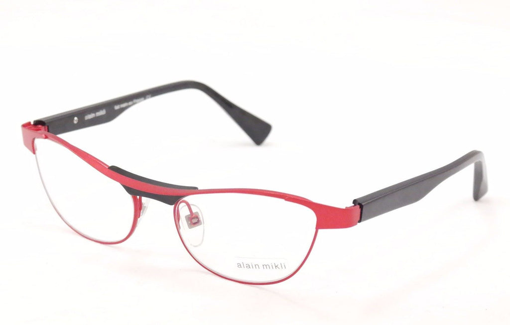 Alain Mikli Eyeglasses AL1220 MOB7 Red Black Metal Plastic France Made 55-17-135