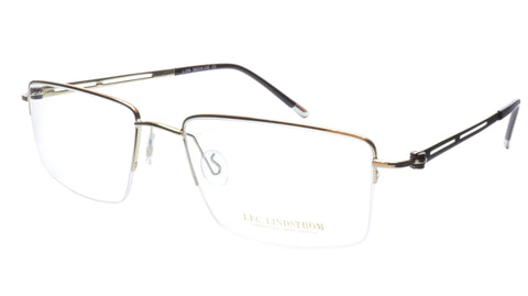 LINDSTROM L-104 C3 Eyeglasses Frame Metal White Gold Black Italy Made 56-19-143 - Frame Bay