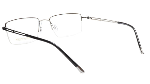 Image of LINDSTROM L-104 C2 Eyeglasses Frame Metal Silver Black Italy Made 56-19-143, 36