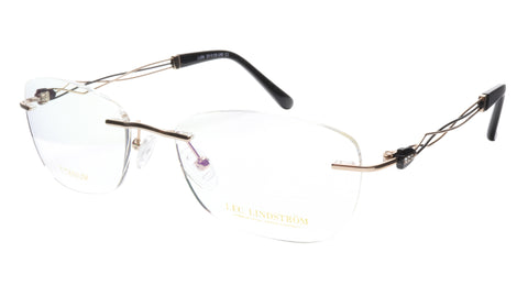 Image of LINDSTROM L-106 C1 Eyeglasses Frame Titanium Gold Black Italy Made 53-19-140, 36