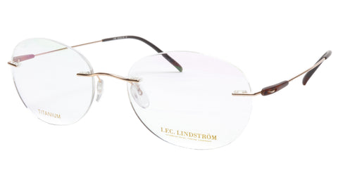 LINDSTROM L-105 C3 Eyeglasses Frame Titanium Gold Brown Italy Made 53-18-145 - Frame Bay