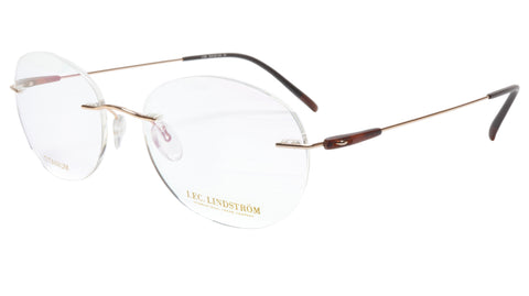 LINDSTROM L-105 C3 Eyeglasses Frame Titanium Gold Brown Italy Made 53-18-145