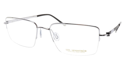 Image of LINDSTROM L-101 C2 Eyeglasses Frame Metal Silver Black Italy Made 56-19-143