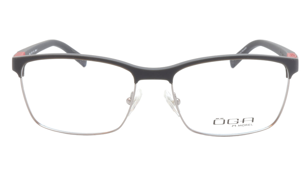 OGA Morel Eyeglasses Frame 82730 GR040 Acetate Matt Black Gunmetal Red France