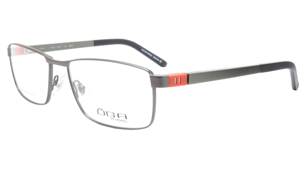 OGA Morel Eyeglasses Frame 81730 GR041 Metal Acetate Black Silver Orange France