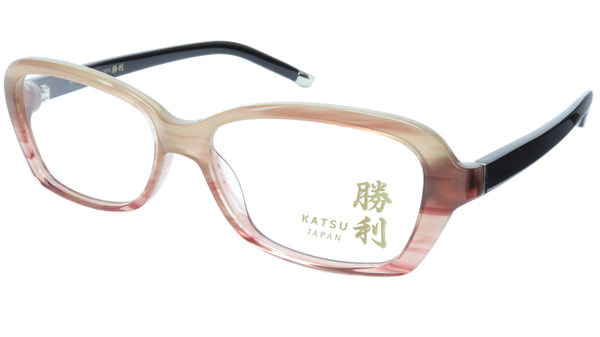 KATSU K8054 COL3 Eyeglasses Frame Acetate Saddlebrown Black 53-16-140 Japan - Frame Bay