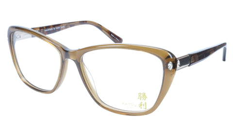 KATSU K8545C C1 Eyeglasses Frame Acetate Saddlebrown Tortoise 54-15-140 Japan - Frame Bay