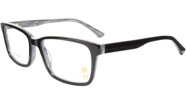 KATSU 6610 Eyeglasses Frame Acetate Black White Swirl Lacquer 55-18-145 Japan - Frame Bay