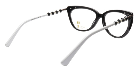 Image of KATSU 8548C C2 Eyeglasses Frame Black White Acetate 54-16-145 Japan Handmade