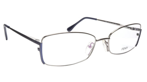 FENDI Eyeglasses Frame F960 (030) Metal Silver Dark Blue Italy Made 52-16-135 30