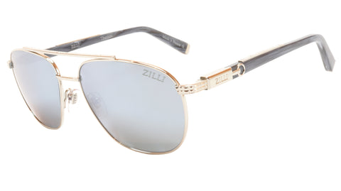 ZILLI Sunglasses Titanium Acetate Bright Silver Polarized France ZI 65020 C07 036