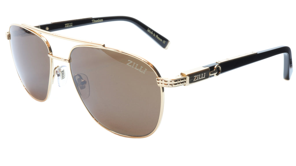 ZILLI Sunglasses Titanium Acetate Polarized Bright Gold France ZI 65020 C01 234