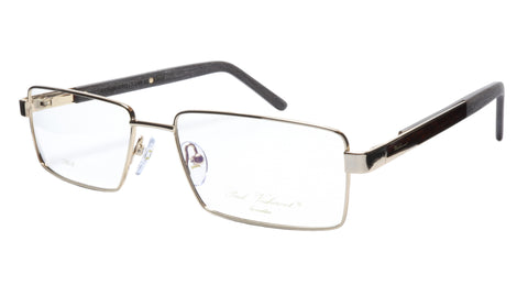 Paul Vosheront Eyeglasses Frame PV304B C1 Gold Plated Wood Italy 57-17-145 32 - Frame Bay