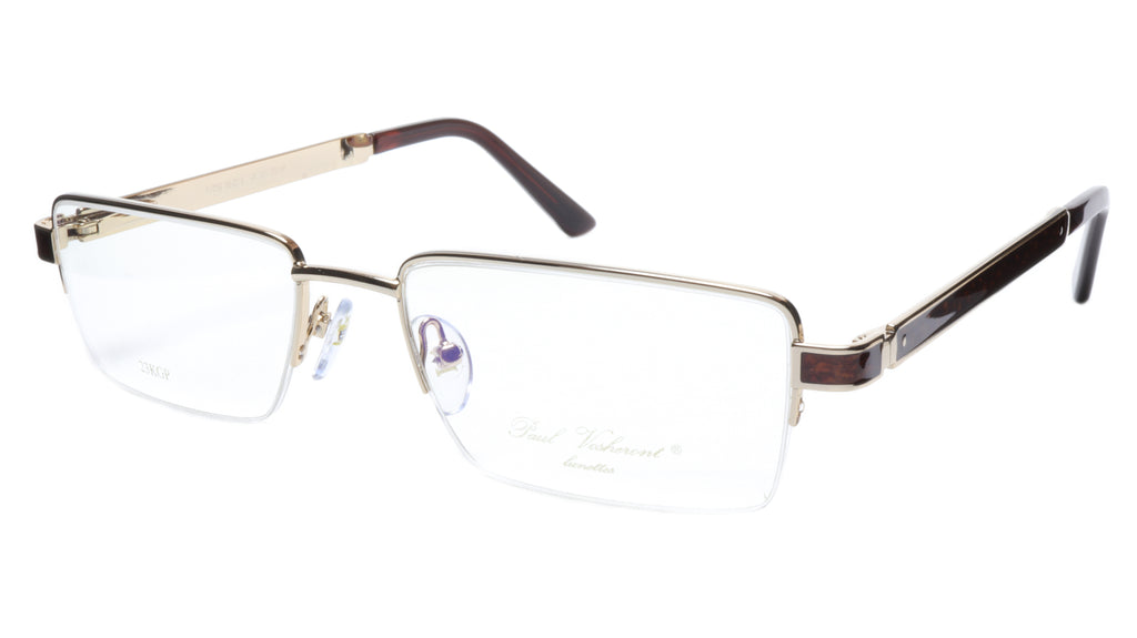 Paul Vosheront Eyeglasses Frame PV339 C1 Gold Plated Wood Italy 56-19-145 31