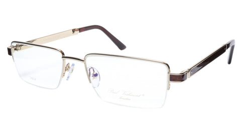 Paul Vosheront Eyeglasses Frame PV339 C1 Gold Plated Wood Italy 56-19-145 31 - Frame Bay