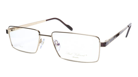 Paul Vosheront Eyeglasses Frame PV323 C1 Gold Plated Wood Italy 57-17-145 32 - Frame Bay