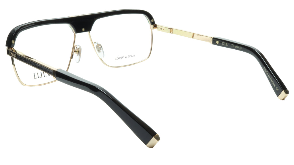 ZILLI Eyeglasses Frame Titanium Acetate Black Gold France Made ZI 60033 C04 058