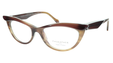 Face A Face Eyeglasses Frame Ebony 4 3159 Acetate Brown Cateye 50-16-135 31 - Frame Bay