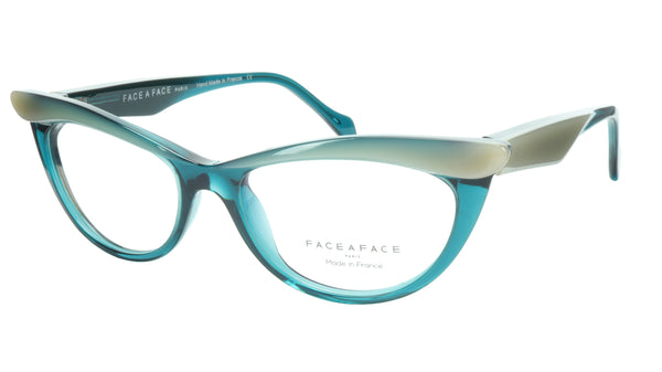 Face A Face Eyeglasses Frame Ebony 4 3140 Acetate Opale Duck Blue 50-16-135 31 - Frame Bay
