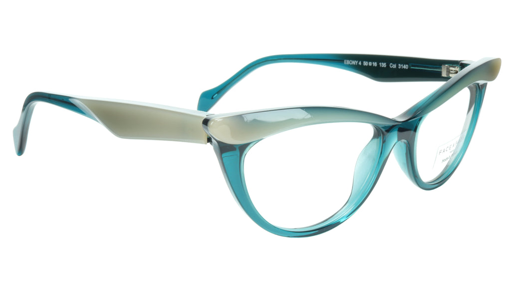 Face A Face Eyeglasses Frame Ebony 4 3140 Acetate Opale Duck Blue 50-16-135 31