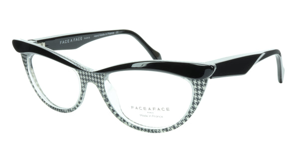 Face A Face Eyeglasses Frame Ebony 1 AT17 Acetate Black Crystal 52-18-135 31 - Frame Bay