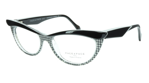 Face A Face Eyeglasses Frame Ebony 1 AT17 Acetate Black Crystal 52-18-135 31