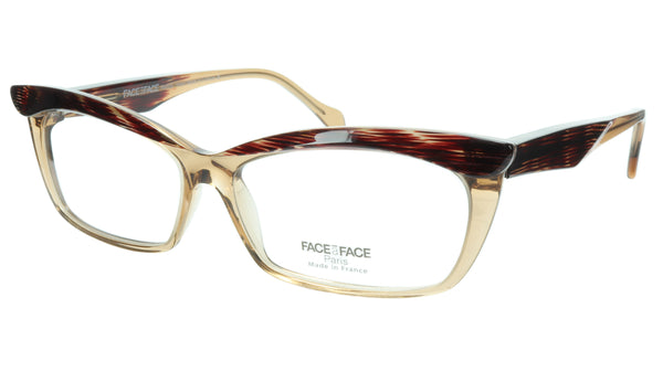 Face A Face Eyeglasses Frame Ebony 2 597 Acetate Crystal Cateye 57-14-135 32 - Frame Bay