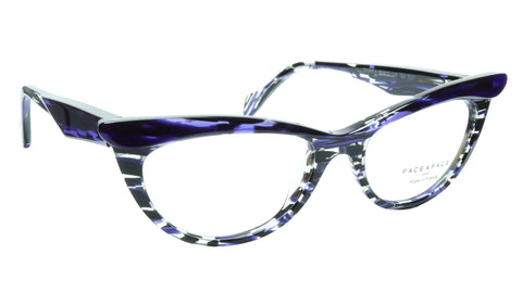 Image of Face A Face Eyeglasses Frame Ebony 4 3027 Acetate Violet Cateye 50-16-135 31
